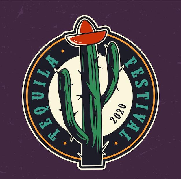 Étiquette ronde colorée du festival de la tequila