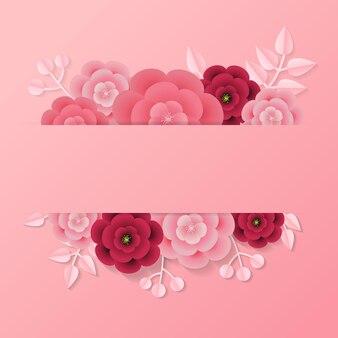 Étiquette rose avec un espace vide pour le modèle de texte décoré de feuilles et de fleurs de style papier.