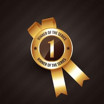 Étiquette de rosette de badge gagnant numéro un