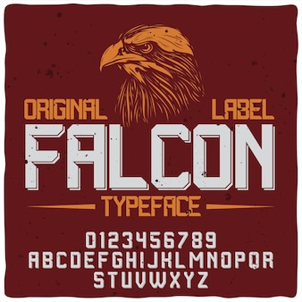 Étiquette rouge faucon avec police