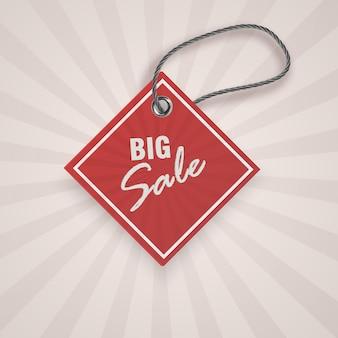 Étiquette rouge de réduction réaliste pour la promotion de la vente. modèle d'étiquette vintage.