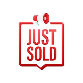 Etiquette rouge vient de vendre sur fond blanc. illustration vectorielle.