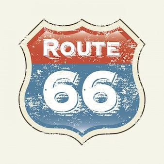 Étiquette de route 66 sur illustration vectorielle fond blanc