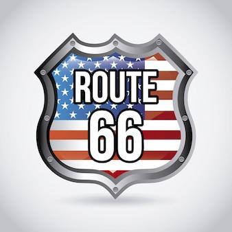 Étiquette de route 66 sur illustration vectorielle fond gris