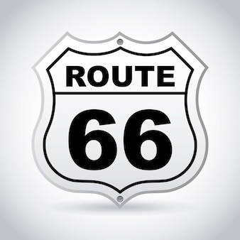 Étiquette de route 66 sur illustration vectorielle fond gris