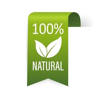 Étiquette de ruban 100 pour cent naturel sur vert