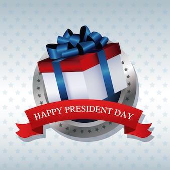 Étiquette de ruban cadeau présent heureux président jour