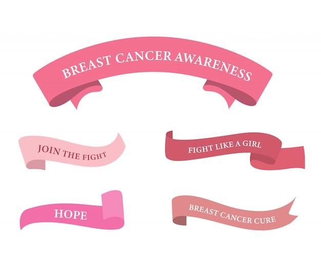 Étiquette de ruban de cancer du sein et badge couleur rose.