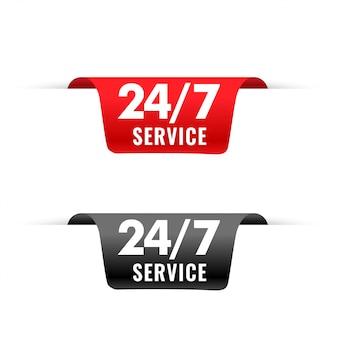 Étiquette de rubans de service 24 heures dans un style 3d