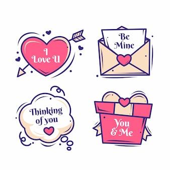 Étiquette de saint valentin dessiné à la main
