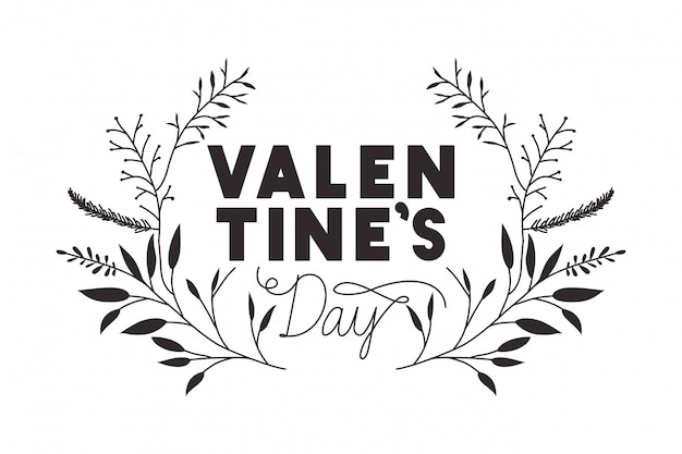 Étiquette de saint valentin avec des icônes de couronne de fleurs