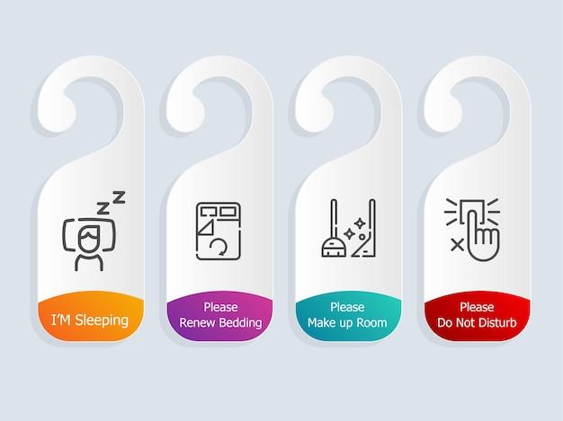 Étiquette de services de chambre d'hôtel avec illustration d'icônes