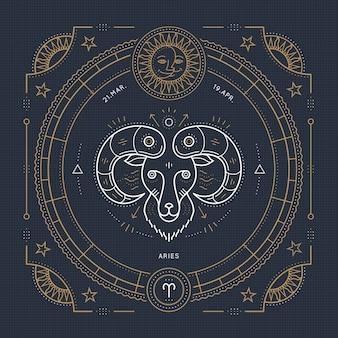 Étiquette de signe du zodiaque bélier vintage fine ligne. symbole astrologique rétro, mystique, élément de géométrie sacrée, emblème, logo. illustration de contour de course.