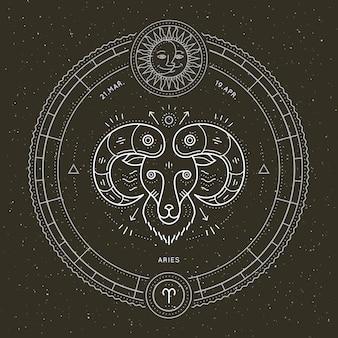 Étiquette de signe du zodiaque bélier vintage fine ligne. symbole astrologique de vecteur rétro, élément de géométrie mystique, sacré, emblème, logo. illustration de contour de course.