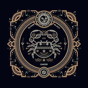 Étiquette de signe du zodiaque cancer vintage fine ligne. symbole astrologique rétro, mystique, élément de géométrie sacrée, emblème, logo. illustration de contour de course.