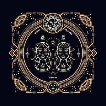 Étiquette de signe du zodiaque gémeaux vintage fine ligne. symbole astrologique rétro, mystique, élément de géométrie sacrée, emblème, logo. illustration de contour de course.