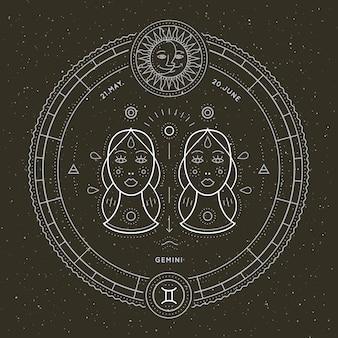 Étiquette de signe du zodiaque gémeaux vintage fine ligne symbole astrologique de vecteur rétro, élément de géométrie mystique, sacré, emblème, logo. illustration de contour de course.