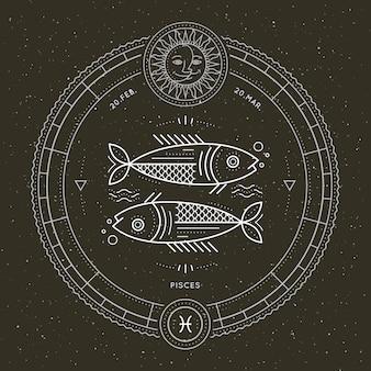 Étiquette de signe du zodiaque poissons vintage fine ligne. symbole astrologique de vecteur rétro, élément de géométrie mystique, sacré, emblème, logo. illustration de contour de course.