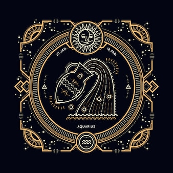 Étiquette de signe du zodiaque verseau vintage fine ligne. symbole astrologique rétro, mystique, élément de géométrie sacrée, emblème, logo. illustration de contour de course.