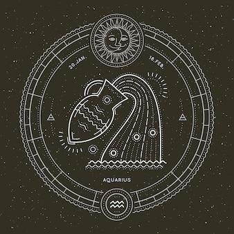 Étiquette de signe du zodiaque verseau vintage fine ligne. symbole astrologique de vecteur rétro, élément de géométrie mystique, sacré, emblème, logo. illustration de contour de course.