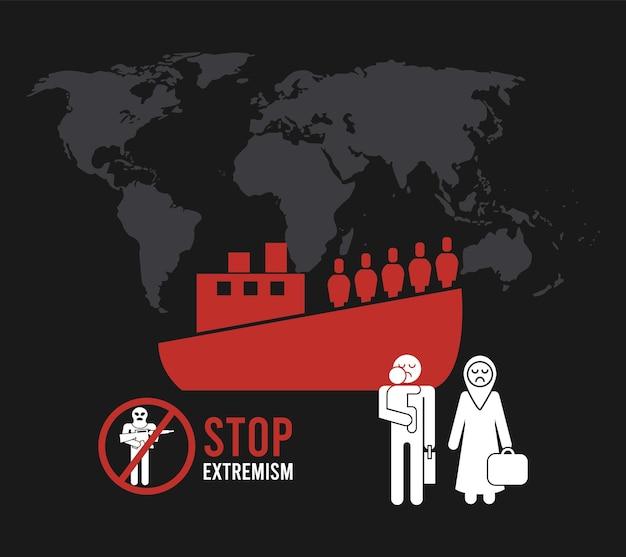 Étiquette stop à l'extrémisme