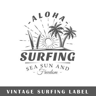 Étiquette de surf isolé sur fond blanc
