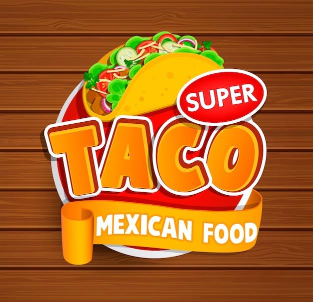 Étiquette taco, logo, autocollant.