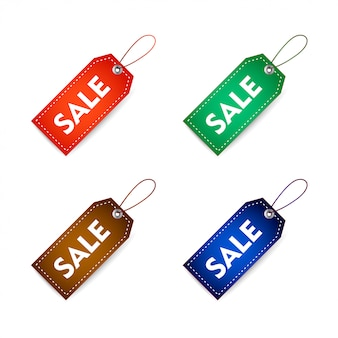 Étiquette de tag vente réaliste avec des variations de couleur