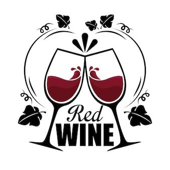 Étiquette de tasses de vin rouge