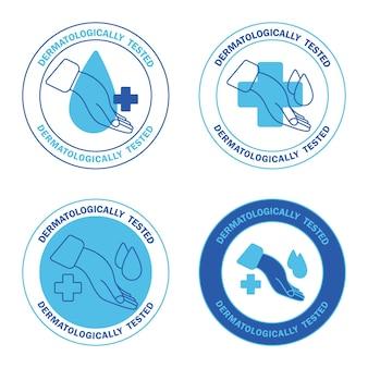 Étiquette testée dermatologiquement avec goutte d'eau et croix icônes cliniquement prouvées