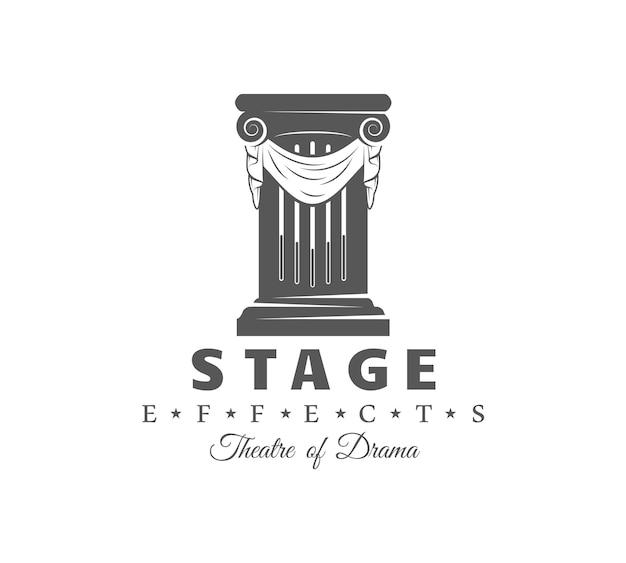 Étiquette de théâtre sur blanc
