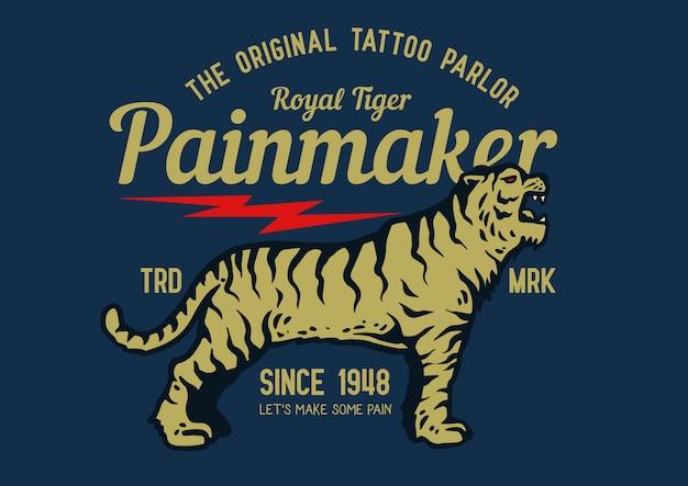 Étiquette de tigre vintage