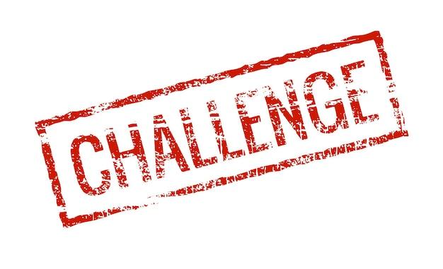 Étiquette de timbre de défi rouge grunge. sceau de timbre de défi vintage carré isolé.
