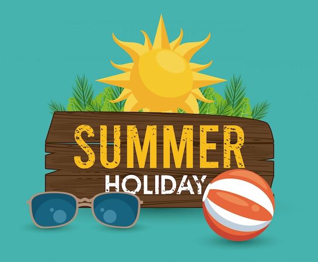Étiquette de vacances d'été avec ballon de plage