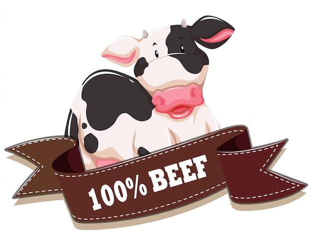 Étiquette avec vache et ruban