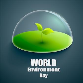 Étiquette de vecteur de monde environnement jour ou bannière