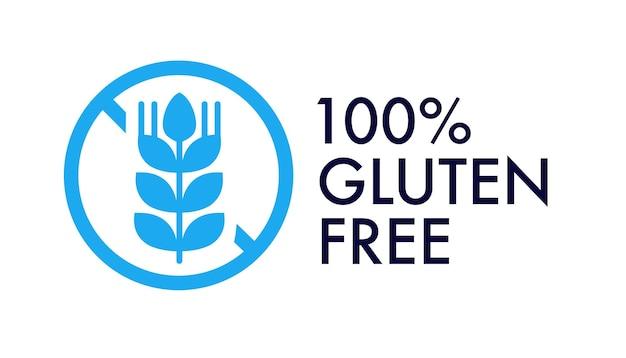 Étiquette de vecteur sans gluten pour l'emballage d'un insigne de sceau de timbre d'emblème alimentaire produit biologique naturel sain