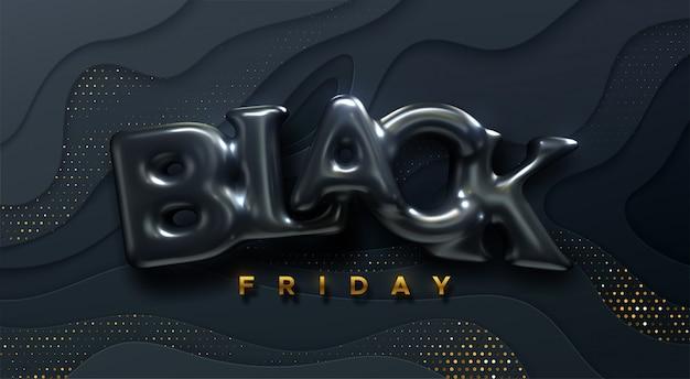 Étiquette de vente du vendredi noir. illustration de l'annonce. événement de réduction marketing promotionnel. lettrage 3d réaliste sur fond noir coupé en papier.
