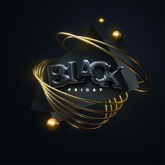Étiquette de vente du vendredi noir avec des lettres de ballon et des primitives géométriques abstraites noires et dorées