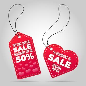 Étiquette de vente en forme de coeur saint valentin