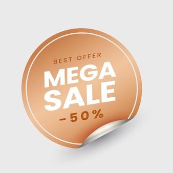 Étiquette de vente méga ou collante avec une offre de réduction de 50% sur fond blanc