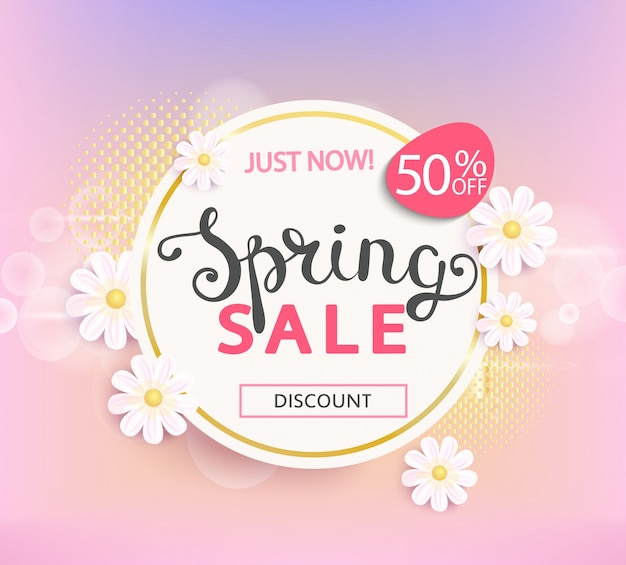 Étiquette de vente de printemps 50 pour cent de réduction.