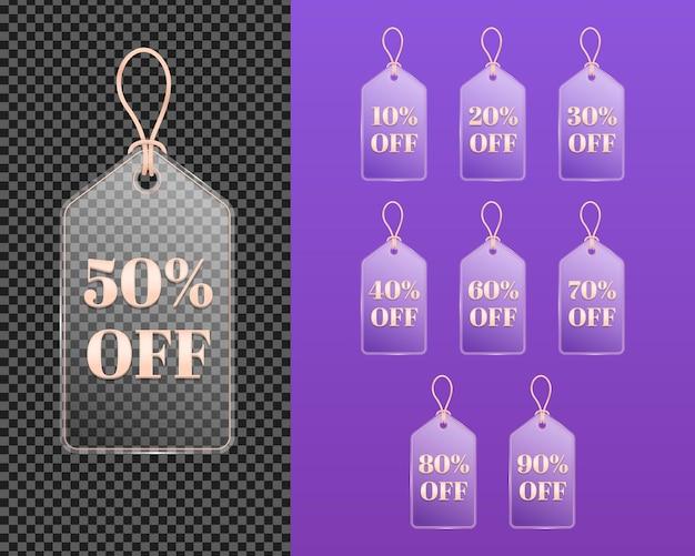 Étiquette de vente à prix réduit avec effet glassmorphism. étiquette de vente en verre avec pourcentage de remise.