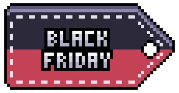 Étiquette de vente, prix et remise de pixel art noir vendredi. élément de bit