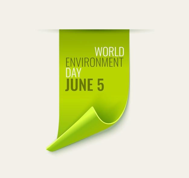 Étiquette verte de jour de l'environnement isolé sur blanc