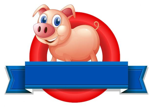 Une étiquette vide avec un cochon