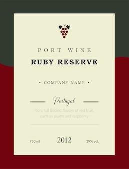 Étiquette de vin de porto