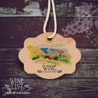Étiquette de vin vintage. illustration aquarelle dessinée à la main. fond en bois de vecteur avec croquis