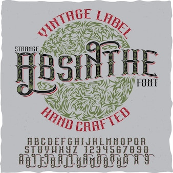 Étiquette vintage d'absinthe