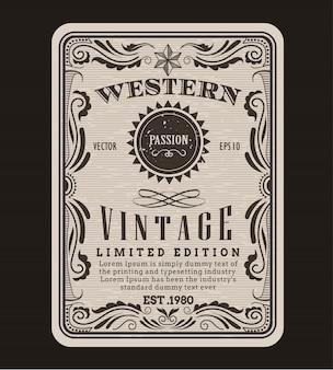 Étiquette vintage bordure de cadre western